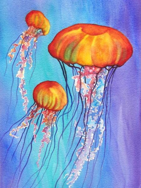 Colorful Jellies - Nina Major Watercolor Art & Silk Painting