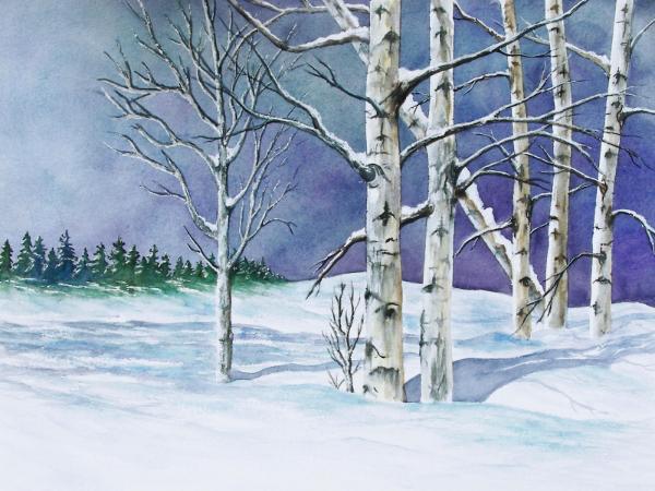 Winter Watercolor Paintings Aspen